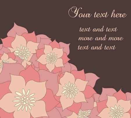 Cute vintage floral autumn card illustration Vector