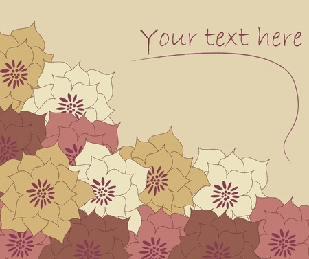 Cute vintage floral autumn card illustration Vector