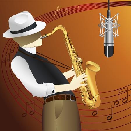 saxofon: Saxofonista de vectores de fondo Vectores