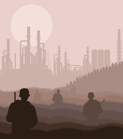 roughneck: Army guarded oil refinery station illustration