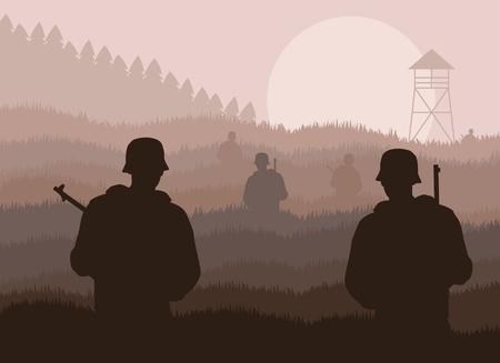 guerra: Ej�rcito vigilado ilustraci�n de la zona de frontera militar