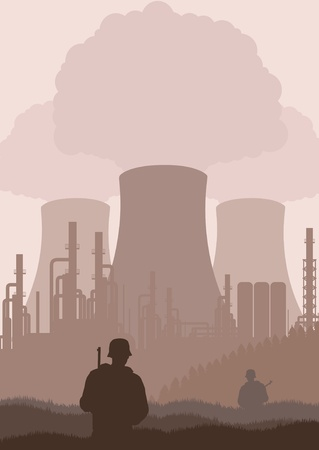 guarded: Army guarded nuclear plant illustration Illustration
