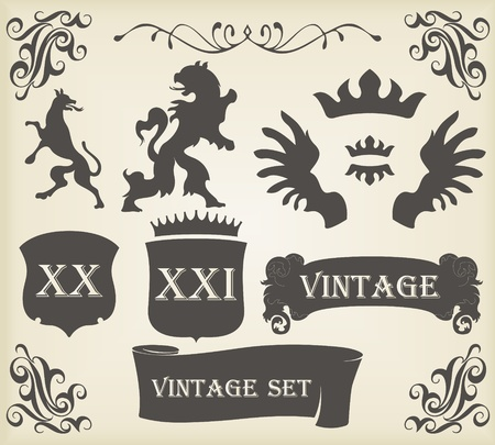 coronation: Heraldic silhouettes set of many vintage elements vector background