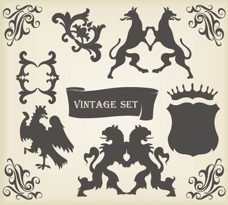 Heraldic silhouettes set of many vintage elements vector background Vector