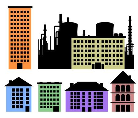 사무실 건물: 디자인을위한 주택 및 공장 벡터 배경의 세트