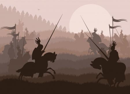 caballero medieval: Caballeros medievales en batalla de vectores de fondo, duelo de l�der de jinete Vectores