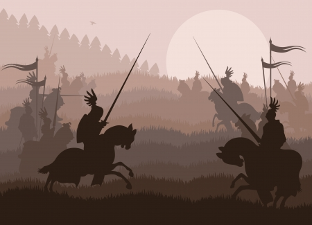 medieval knight: Medieval knights in battle vector background, rider leader duel Illustration