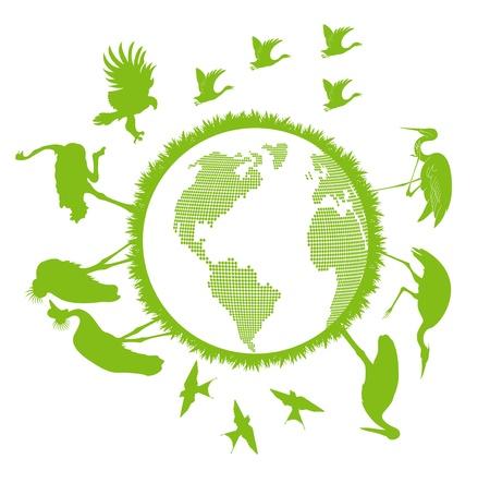 Birds set around world vector background- ecology concept Vector
