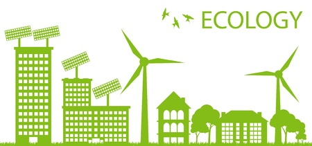eco energy: Wind alternative energy generator blue vector background Illustration
