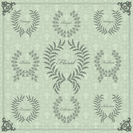 Vintage frames and elements illustration collection Stock Vector - 10579063