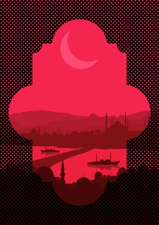 mid morning: Vintage turkish city Istanbul landscape illustration