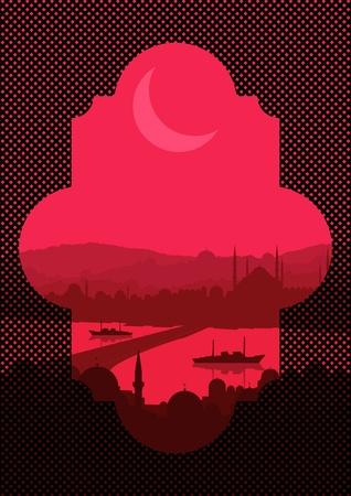 arab culture: Vintage turkish city Istanbul landscape illustration