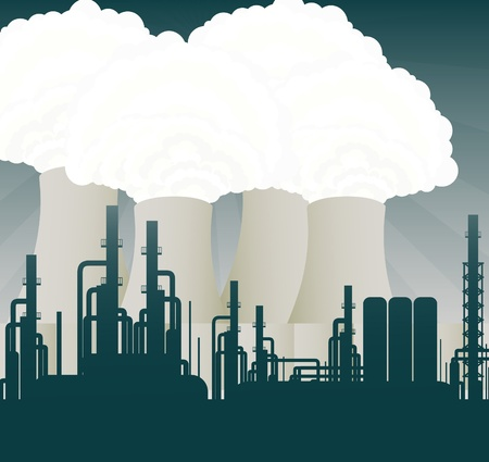 uranium: Nuclear power station cooling towers illustration