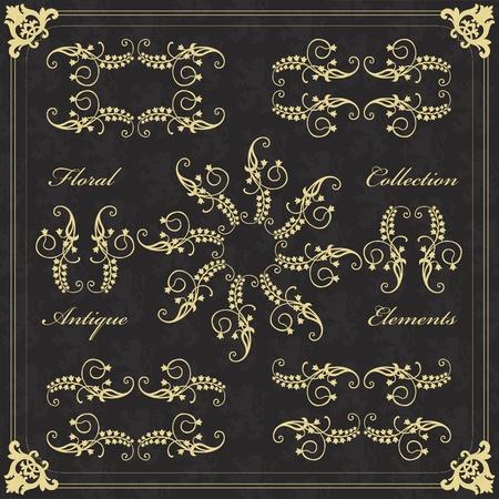 Vintage golden floral frames and elements illustration collection Vector