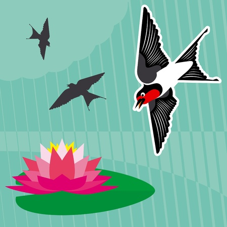 swarm: Flying swallow swarm vector background