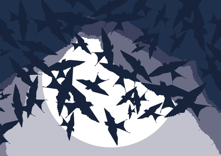 Flying swallow swarm in cave entrance foliage illustration Vector