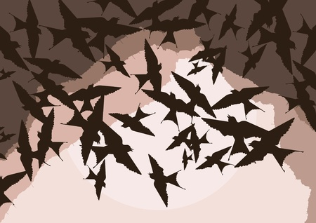 Flying swallow swarm in cave entrance foliage illustration Stock Vector - 10553871