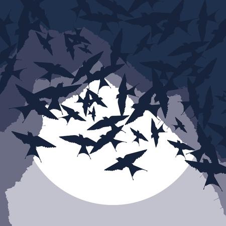 swarm: Flying swallow swarm in cave entrance foliage illustration