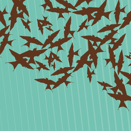 migration: Flying swallow swarm in cave entrance foliage illustration