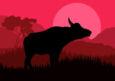 cow silhouette: Animated water buffalo in wild nature landscape illustration Illustration
