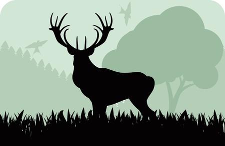 gun silhouette: Animated rain deer family in wild forest foliage illustration