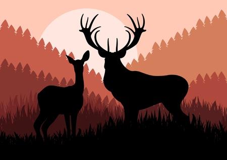 incendio bosco: Animato cervi famiglia pioggia in illustrazione selvatici fogliame della foresta Vettoriali