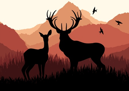 Animated rain deer family in wild forest foliage illustration Vector