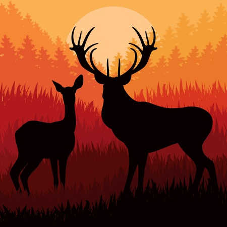 rifle: Animated rain deer family in wild forest foliage illustration