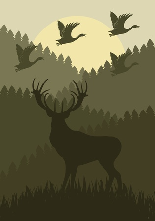 Animated rain deer family in wild forest foliage illustration