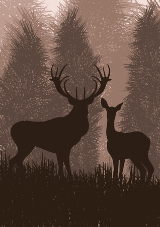 background deer: Animated rain deer family in wild forest foliage illustration