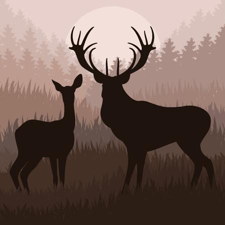 bosbrand: Geanimeerde regen herten familie in het wild levende bos gebladerte illustratie Stock Illustratie