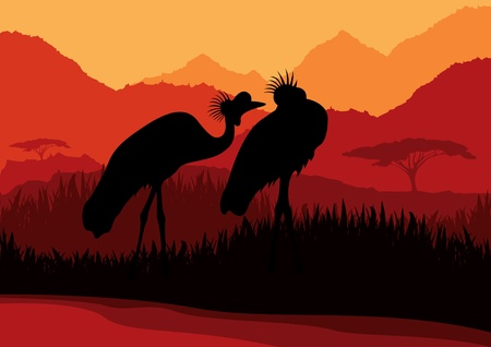 Animated crane couple in wild nature landscape illustration Vector
