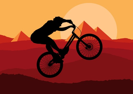 Mountain bike trial rider in wild nature landscape illustration Vector