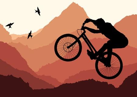 mountain biker: Mountain bike trial rider in wild nature landscape illustration