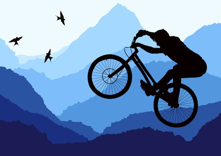 cliff jumping: Mountain bike trial rider in wild nature landscape illustration