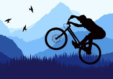 adventure sports: Mountain bike trial rider in wild nature landscape illustration
