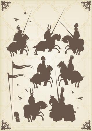 chevalerie: Cavalier chevalier m�di�val et vintage illustration des �l�ments de fond vecteur