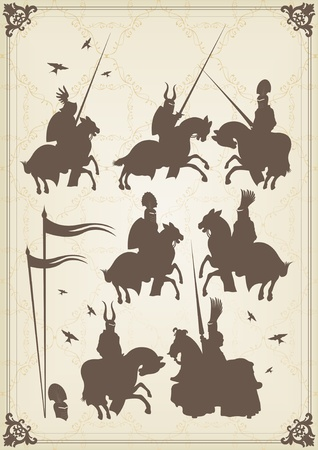 horse stable: Medieval knight horseman and vintage elements vector background illustration