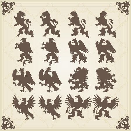 Vintage royal birds coat of arms illustration Vector