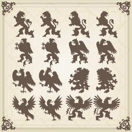 Vintage royal birds coat of arms illustration Vector