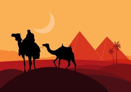 Los camellos con pirámides en el medio silvestre paisaje de África