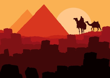 Camels with pyramids in wild africa landscape