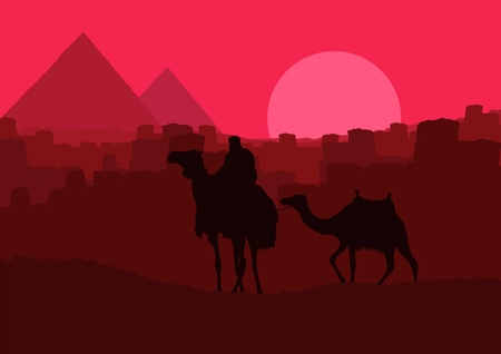 Camels with pyramids in wild africa landscape Stock Vector - 10553795