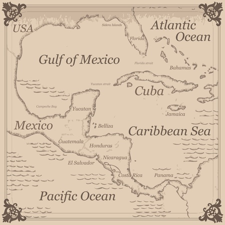 Caribbean sea: Vintage Caribbean central america map illustration