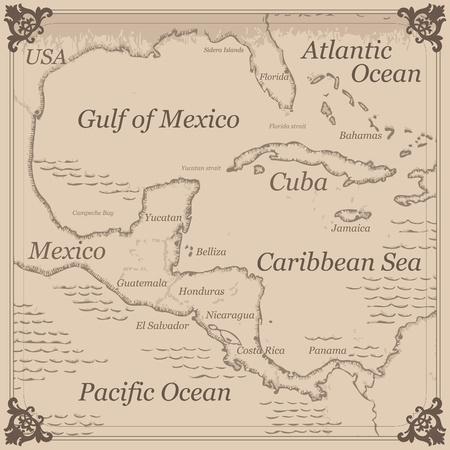 körfez: Vintage Karayip merkezi amerika harita illüstrasyon