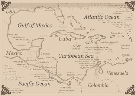 america centrale: Vintage Caraibi America Centrale mappa illustrazione Vettoriali