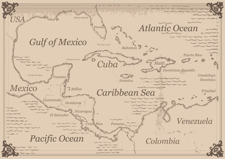caribbean: Vintage Caribbean central america map illustration