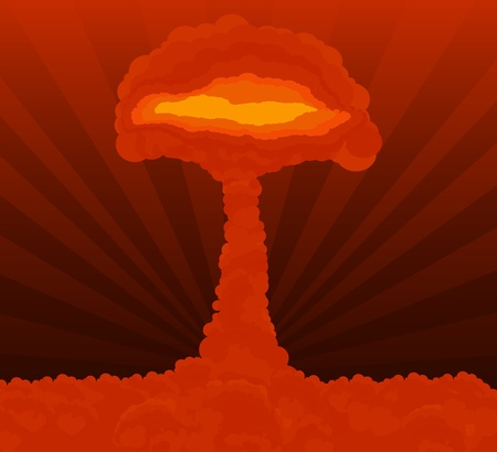 Atomic explosion cloud formed mushroom Stock Vector - 10578995