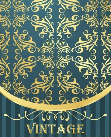 Golden vintage template vector background Vector