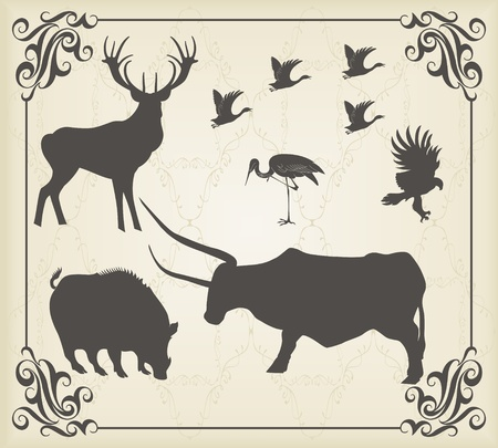 Vintage set of animals into frame Vector